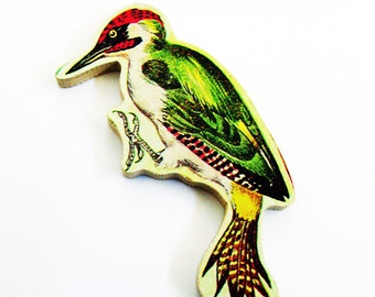 1960s Woodpecker Brooch - Pin / Unique Gift Under 50 / Upcycled Vintage Hand Cut Wood Jewelry / Red Head - Green Feathers Bird & Name Pin