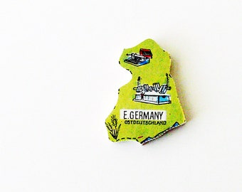 1960s Ostdeutschland - East Germany Brooch - Pin / Unique Wearable History Gift Idea / Upcycled Vintage Wood Jewelry / Gift Under 50