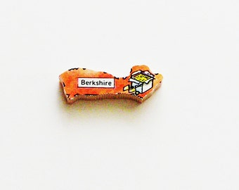 1960s Berkshire England Brooch - Pin / Unique Wearable History Gift Idea / Upcycled Vintage Wood Jewelry / Timeless Gift Under 25