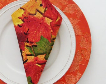 Autumn Splendor Cotton Napkins / Set of 4 / Fall Season & Thanksgiving Colorful Leaves Table Decor / Unique Eco-Friendly Gift Under 50