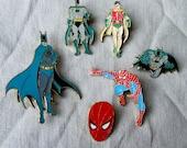 Enamel Badges of Batman and Spiderman - Vintage Enamel Pins of Superheroes