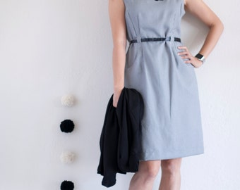 applique dress . Modern Fit Belted Sheath Dress Black & White Plaid with Big Black bird Applique