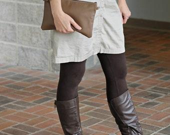 Brown Leather Wristlet - Brown Leather Bag - Large Clutch- Leather Wristlet - Ladies Clutch - Leather Evening Bag - Handmade Wristlet Clutch