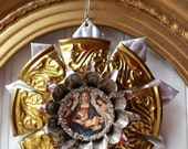 Upcycled metal Christmas ornament Tart tin icon vintage metal altered aluminum brass Nativity ex voto Holiday N24