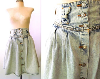 80s High Waist Skirt / ACID WASH Blue Jean Skirt / 80s Jordache Skirt / Acid Wash & Bows Skirt