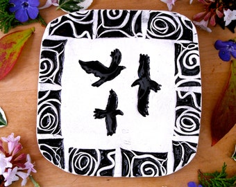 Soaring Raven Dish - Handmade Black White Tribal Graphic Flying Bird Crow Linocut Stamped Rustic Ring Jewelry Trinket Holder GOT Night Watch