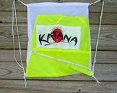White Drawstring Backpack with Neon Yellow Katana Parachute End Panel Applique