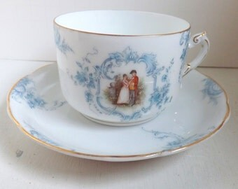 Antique tea cup and saucer set, courting couple tea cup, love story teacup, blue floral tea cup, Victorian china, porcelain, made in Germany