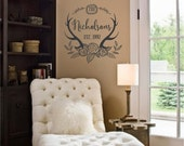 Personalized Custom Family Name Est date Deer Antlers Wall Art in Words Stickers Vinyl lettering Decals