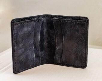 Distressed Black Heavy Duty Leather Wallet