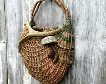 Wall Basket Using Wild Grapevine Deer Antler Mushrooms and Other Natural Elements