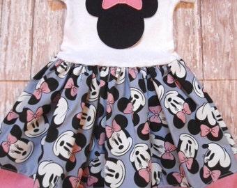 MINNIE MOUSE, disney dress, birthday minnie party dress, minnie pink bow, girls minnie mouse dress, first birthday party, minnie party dress