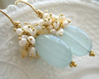 "Aquamarine Earrings-""Cirrus"""