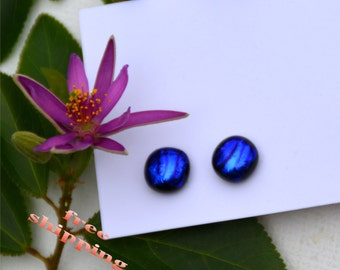 118 Fused dichroic glass earrings, round, shiny, blue, purple stripes