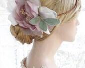 large flower crown, wedding headpiece, lavender flower crown, bridal hairpiece, silk flower hair piece, peony flower crown, bridal headpiece