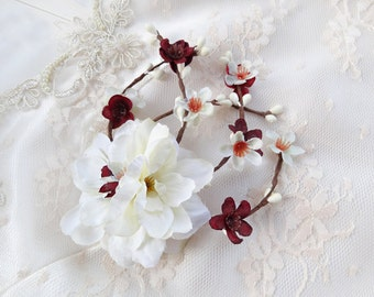 bridal hair comb, burgundy flower hair clip, fall hair clips, burgundy marsala wedding, ivory bridal hairpiece, ivory flower for hair