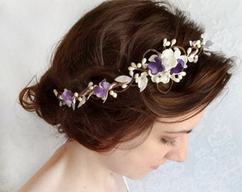bridal hair piece, wedding hair band, bridal headband, ivory floral crown, light purple floral crown, purple wedding, bridal hair vine,