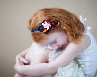 navy and burgundy headband, flower girl headband, navy wedding, fall wedding, autumn wedding, bridesmaid hair piece, marsala wedding