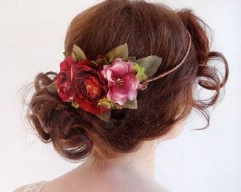 bridal floral crown, wedding flower crown, red flower crown, English garden wedding, fuchsia hair accessories, bridal hairpiece, headpiece