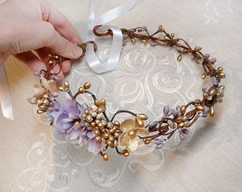 lavender and gold bridal headband, purple flower crown, bridal headpiece, gold flower crown, bridal hair vine, rhinestone headband, lilac