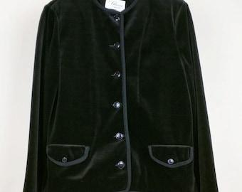 Vintage Black Velvet Jacket S 1970s
