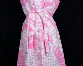 Alex Coleman Pink White Floral Dots Dress 60s M