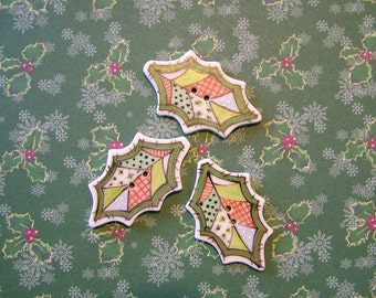 Holly Patch Buttons set of 3