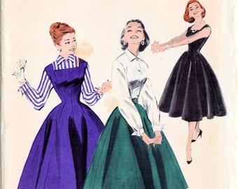 1950s Butterick 7455 UNCUT Vintage Sewing Pattern Misses Blouse, Jumper, Skirt, Evening Dress Size 16 Bust 34