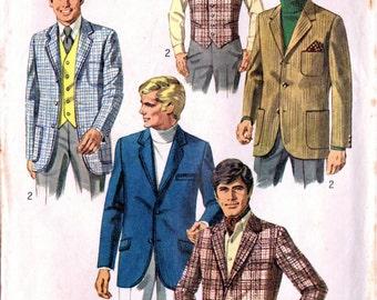 1960s Simplicity 8368 UNCUT Vintage Sewing Pattern Men's Blazer Jacket Vest Size 38