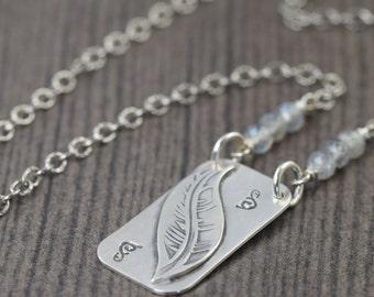 Valentine's Day gift Sterling Silver Feather necklace boho necklace nature necklace leaf necklace labradorite necklace
