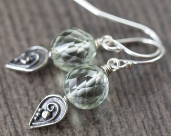 Valentine's Day gift floral earrings Sterling silver Green Amethyst and Bali Floral design earrings