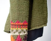 fair isle cardigan HEIDI hand knit geometric peplum jacket high collar olive green wool sweater