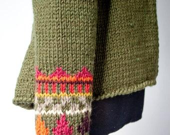 ON SALE fair isle cardigan HEIDI hand knit geometric peplum jacket high collar olive green wool sweater