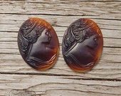 Vintage Glass Portrait Cameos in Buffalo Horn Brown  30x40 mm Oval Cabochons (choose 1 pc or 2 pc)