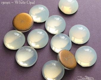 Vintage Cabochons - 13 mm White Opal - 6 West German Glass Stones