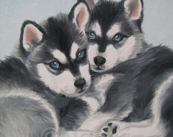 BLUE EYED 16x20 giclee print canvas signed by NOEWI - dog puppy Husky