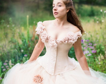 Fantasy Wedding Gown Fairy Blossom- Blush Tulle Skirt Silk Flowers - Corset - Fairytale Masquerade Handmade Wedding Dress- Custom to Order