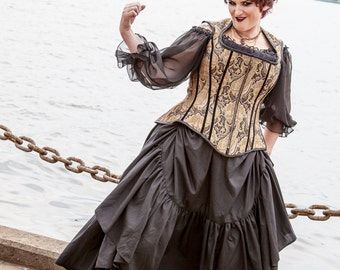 """Plus Size Steampunk Skirt with Bustle Pulls in Cotton- Adult Halloween Witch Pirate Costume - """"Ellis Style"""" Custom to order 2XL-5XL"""