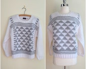 Vintage oversized sweater / Gray and white pullover / Chunky knit sweater