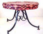 vintage iron stool - wrought iron round ottoman foot stool