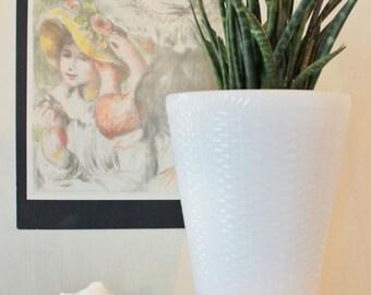 vintage vase - basket weave milkglass vase