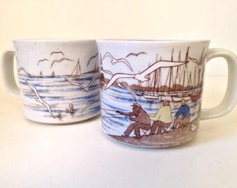 vintage mug - nautical stoneware coffee mugs - set of 2