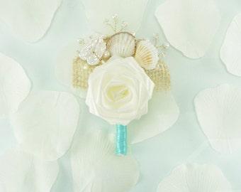 Ocean Waves Boutonniere, Origami rose boutonniere - Beach Wedding boutonniere, Summer Wedding, Groom Boutonniere, Seashell buttonhole