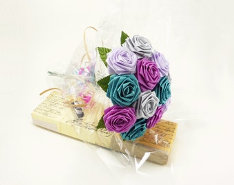 Origami Vivid Fuchsia and Teal Rose Bouquet (1 Dozen Gift Wrapped), Anniversay Gift, Valentines day gift, Party favors