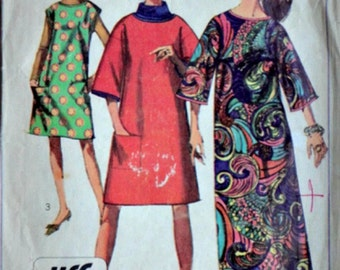 Vintage 60's Simplicity 7376 Sewing Pattern, Jiffy Dress in Two Lengths, Size 14, 34 Bust, Retro Mod,