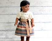 Josefina Outfit, Southwest Camisa, Skirt and Belt, fits American Girl, Embroidered Blouse and Striped Skirt with Belt