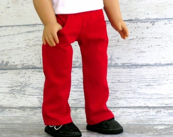 Red Doll Jeans, fits American Girl, 18 inch doll clothes, Valentine Pants with Pockets