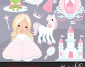 Fairy Tale Princess Clipart. Fairy Tale characters, princess carriage, tiara, frog prince, princess castle, magic wand & mirror graphics.