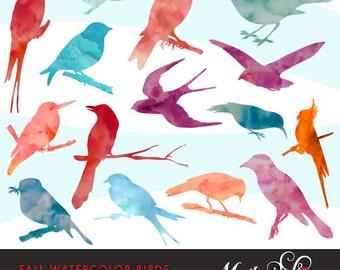 Fall Watercolor Bird Silhouettes Clipart. Watercolor bird graphics, bird silhouettes.