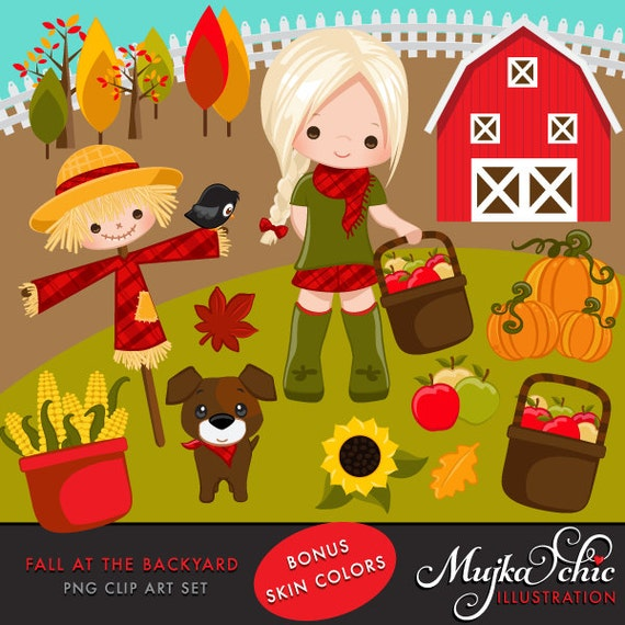 Farm Clipart Fall At Backyard Cute Apple Picker Characters